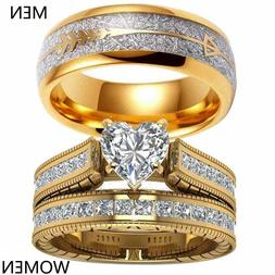 Couple Rings Yellow Gold Filled Titanium Steel Mens Band Hea