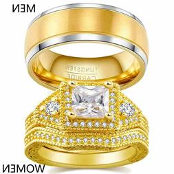 Couple Rings Yellow Gold Filled Tungsten Mens Band CZ Womens