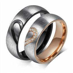 cz couple rings forever love heart brushed