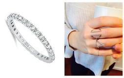 Delicate .925 Silver 2 mm Round Cut CZ Stackable Eternity Ba