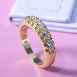 Elegant 18k Yellow Gold Plated Rings for Women Jewelry White