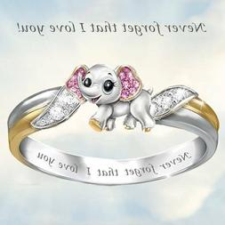 "Elephant Rings "" i love you"" Band Ring Women Girls Birthday"