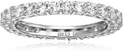 Essentials Plated Sterling Silver Round-Cut Cubic Zirconia A