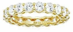Essentials Yellow Gold Plated Sterling Silver Round Cut, Gol
