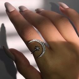Adjustable Ring Crescent Moon And Tiny Star Ring Gold Silver