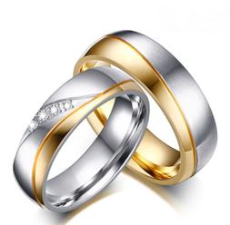 Fashion Couple Stainless Steel Band Wedding Ring 18K Gold CZ