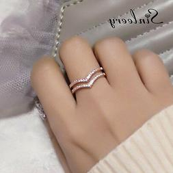 Fashion Hollow Tiny Crystal 2 Layers Adjustable Rings For Wo