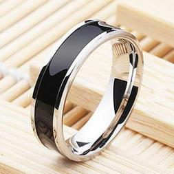 Fashion Jewelry Black Titanium Band Stainless Steel Ring For