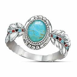Fashion Ring 925 Silver Turquoise Women Jewelry Feather Wedd
