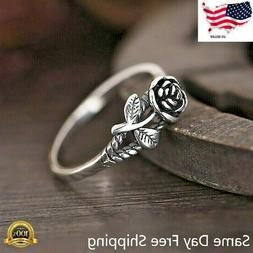 Fashion Rose Flower 925 Silver Jewelry Wedding Rings for Wom