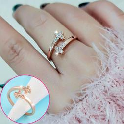 Fashion Tiny Crystal Cross Adjustable Rings For Women Rose W