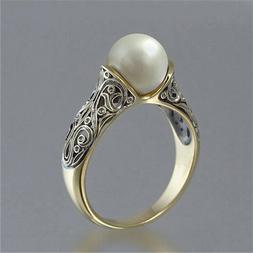 Fashion Wedding Ring for Women 18k Yellow Gold Plated White