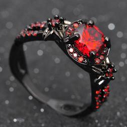 Junxin Flower Shiny Red Ruby Wedding Ring Black Gold Promise