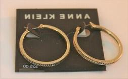 Anne Klein gold tone with decorative edged hoop earrings