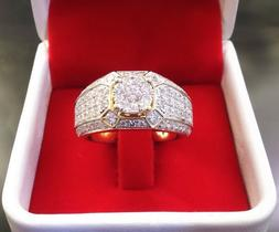 Gorgeous 14K Yellow Gold Filled White Sapphire Ring Men Wome