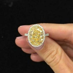 Gorgeous 3.0Ct Oval Cut Yellow Diamond Halo Engagement Ring
