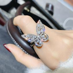 Gorgeous Butterfly Women 925 Silver Rings White Sapphire Rin