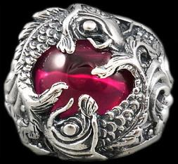 HEAVY LUCKY POWER FORTUNE JAPANESE RED KOI FISH 925 STERLING