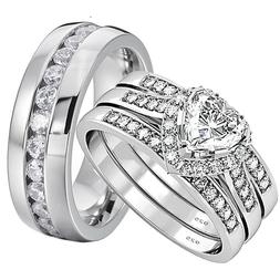 His and Hers Wedding Rings 4 pcs Engagement Sterling Silver