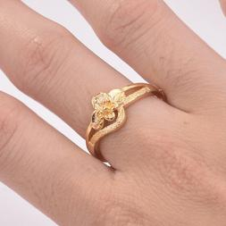 Hollow Flower Adjustable Rings for Women Gold Color Crown Ri