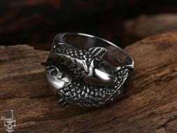 Japanese Carp Koi Fish Ring Silver Color in 16L Stainless St