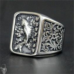 Koi Carp Fish Silver Color Ring in 316L Stainless Steel –