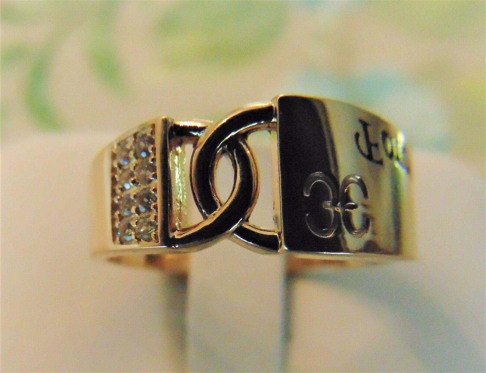 """14k Yellow Diamond man made ring engagement """"Forever One"""""""