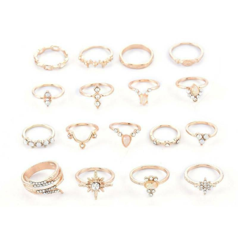 17 Gold Finger Ring Set Punk Knuckle Jewelry US