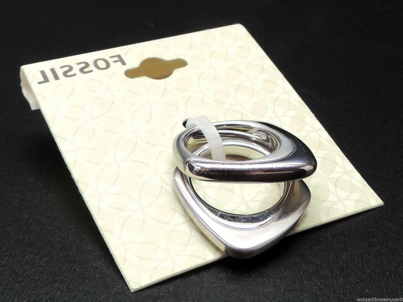 Fossil 2 Ring Set Silvertone New!