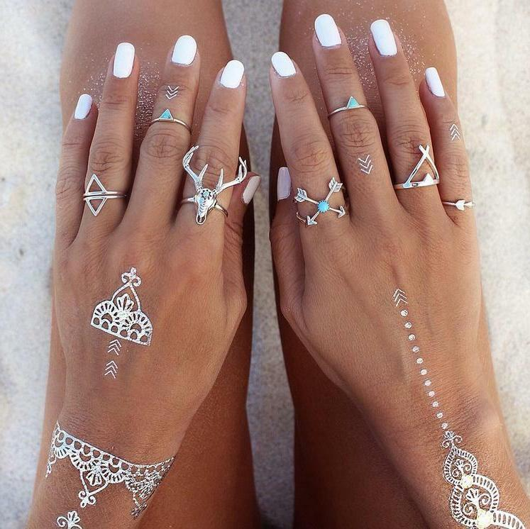 28 Ring Set Above Knuckle stacking Band Midi