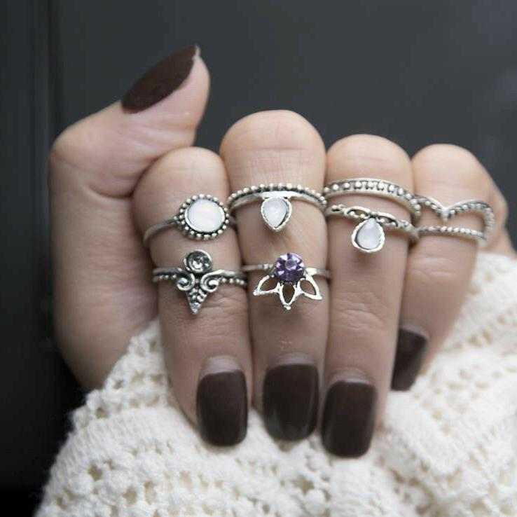 28 Ring Knuckle stacking Band Boho