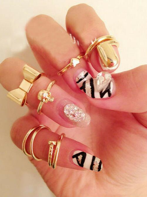 28 Styles Gold Ring Set stacking Band