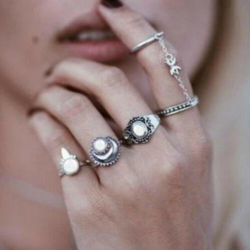 28 Styles Silver Ring Above stacking Band Boho