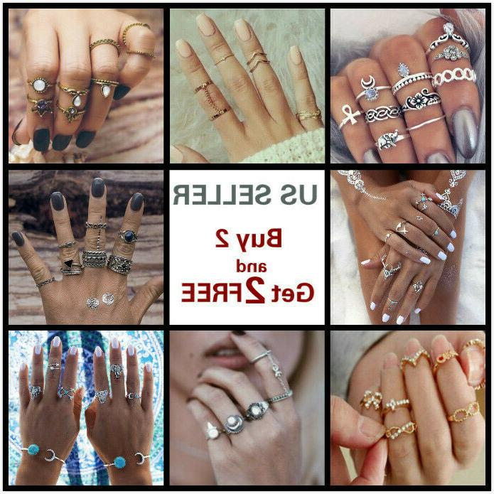 28 styles gold silver ring set above