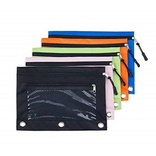 3 rings binder pencil pouch with black