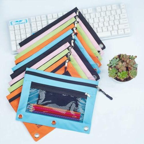 3 Rings Binder Pouch with Pencil Case with Double Pocket Mesh Window