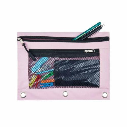 3 Rings Binder Pouch with Pocket Mesh Window