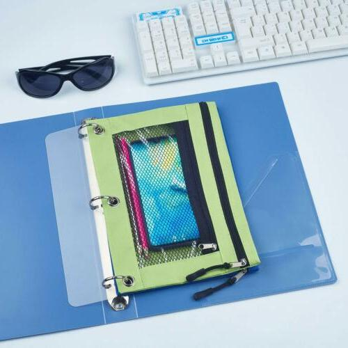 3 Rings Binder Pouch with with Mesh