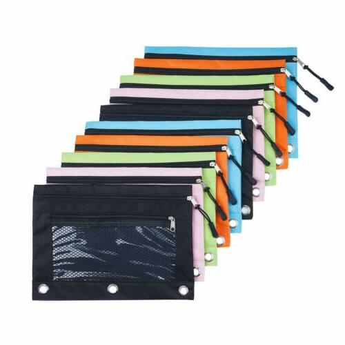 3 rings binder pencil pouch with pencil