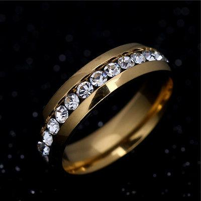 316L Steel Wedding Silver/Gold Band Women Couple 5-13