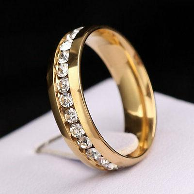 316L Stainless Silver/Gold Couple CZ Size 5-13