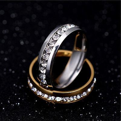 316L Stainless Steel Silver/Gold Band Men Couple CZ 5-13