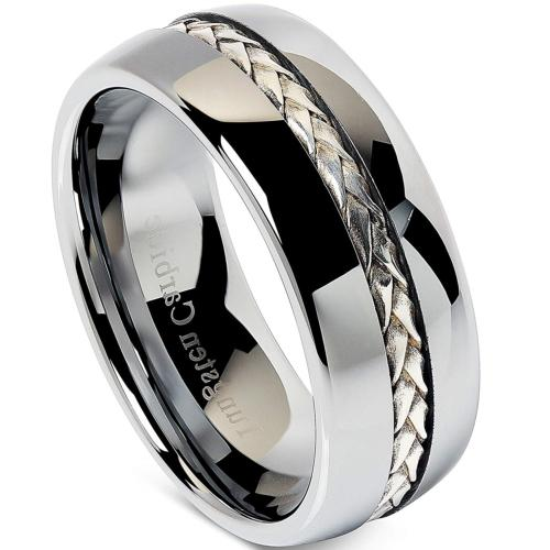 100S JEWELRY 8mm Men's Tungsten Carbide Ring Silver Rope Inl