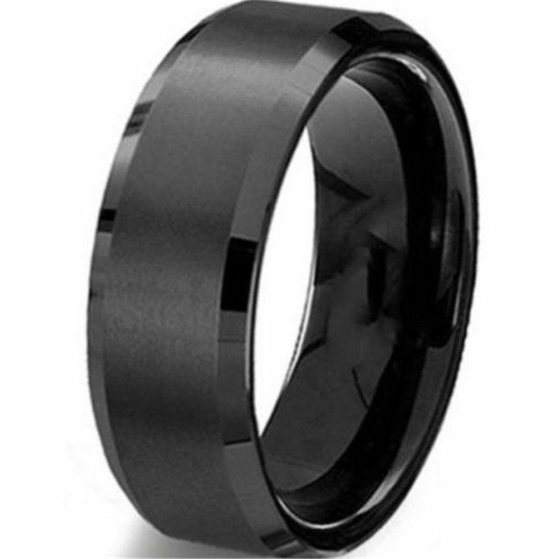 8mm stainless steel ring band titanium black