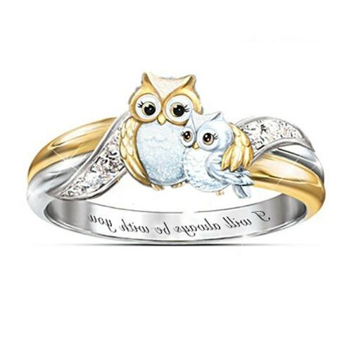 Rings 925 Sterling Silver Heart Dolphin Owl Crystal Engageme