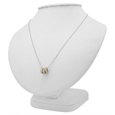 Amanda Rose Three Ring Pendant-Necklace Silver on an in.