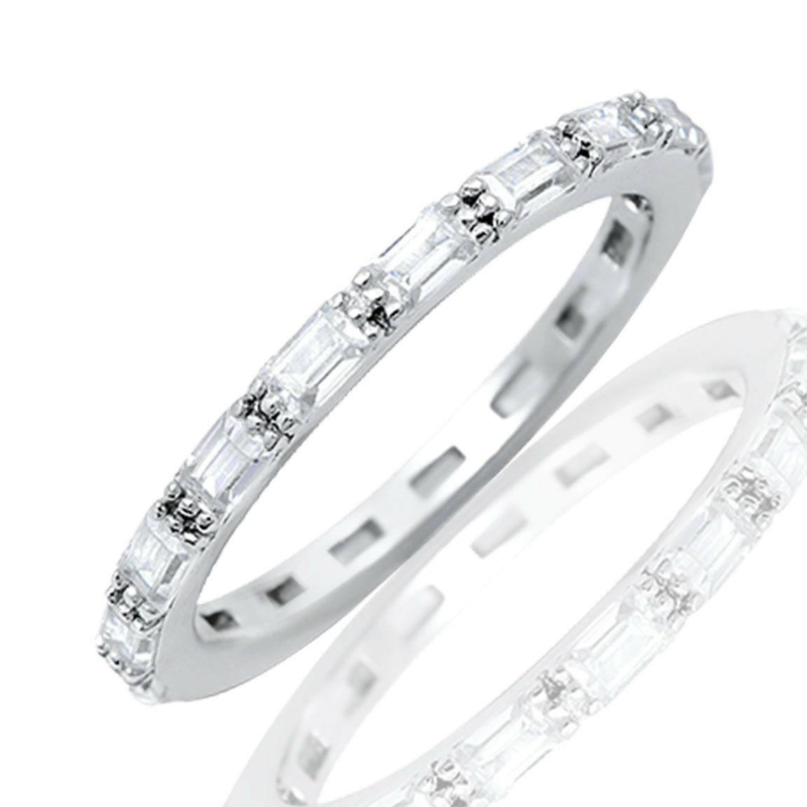 baguette simulated diamonds eternity pronged stack genuine