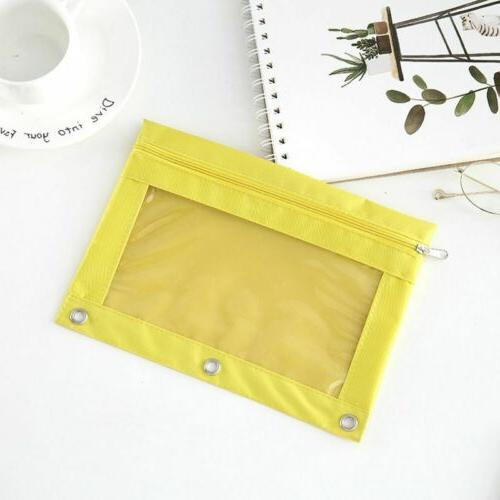 Binder Pencil Zipper Pencil Case with Ring