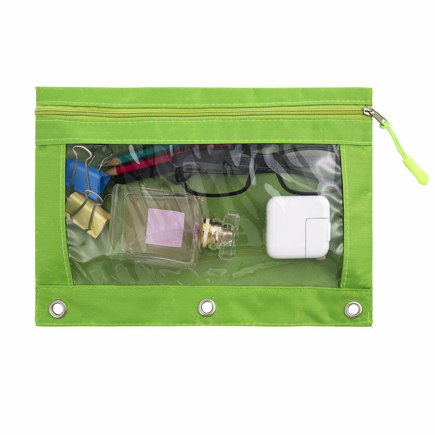 Binder Pencil Pouch with Zipper Pulls, Case with Ring