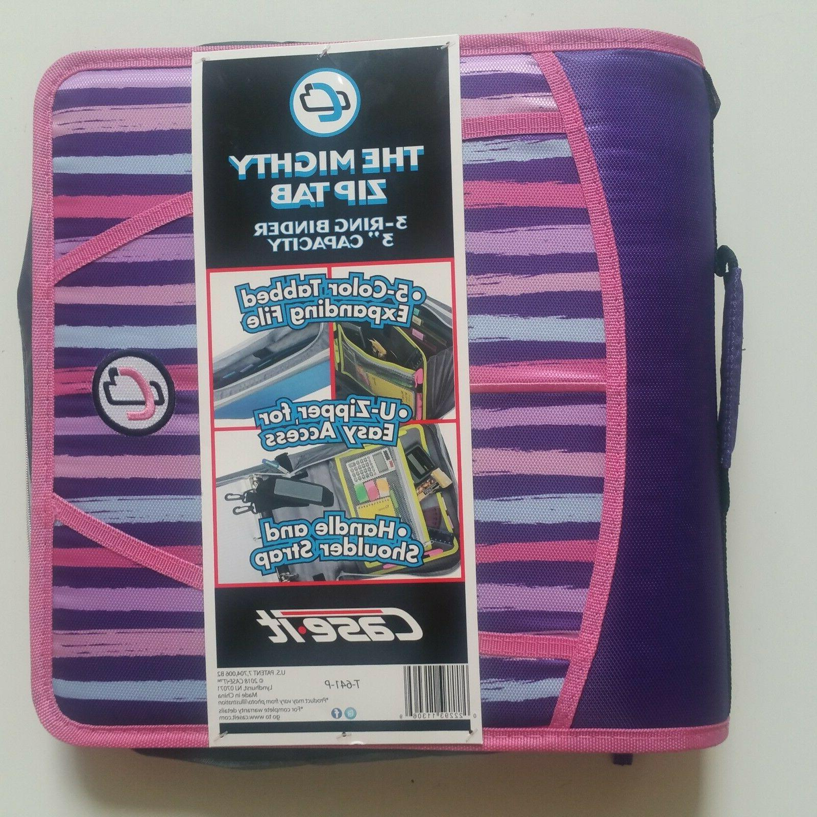 Case-it Zipper Mighty Tab 3 3 Rings 5 Color Expanding NEW